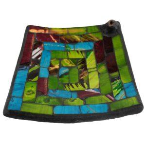 12cm Square Multi Mosaic Incense Plates