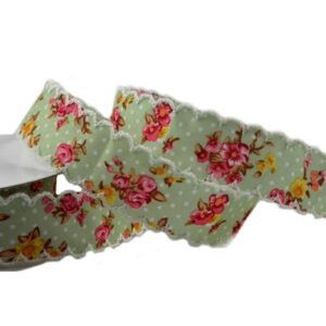 25mm Yellow Flower Printed Ribbon Design 10m Printed Burlap Ribbons