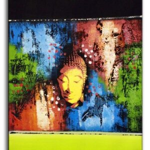 Abstract Buddha Green Long 60x80cm Bali Original Art
