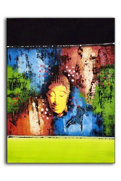 Abstract Buddha Green Long 60x80cm Bali Original Art