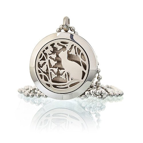 Aromatherapy Diffuser Necklace Cat and Flowers 25mm Diffusers