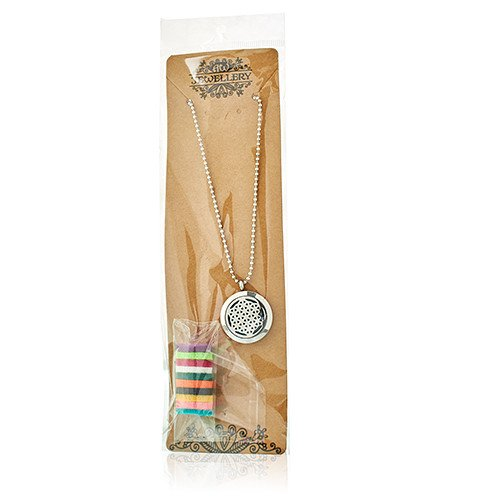 Aromatherapy Diffuser Necklace Cat and Flowers 25mm Necklaces