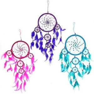 Bali Dreamcatchers Large Round Turq Pink Purp Bali Dream Catchers