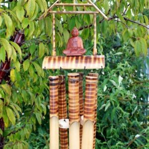 Bamboo 6 Tube Buddha Med Bamboo Mountain Wind Chimes