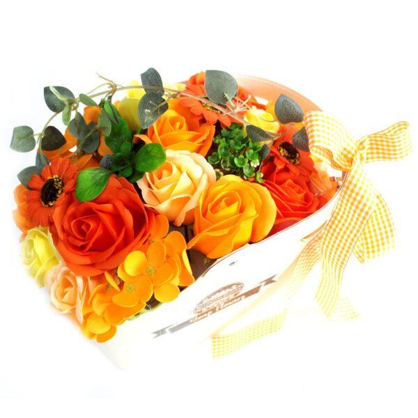 Basket Soap Flower Bouquet Orange Luxury Soap Flowers