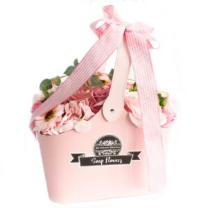 Basket Soap Flower Bouquet Pink Soap Flower Bouquets