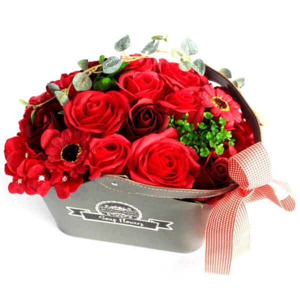 Basket Soap Flower Bouquet Red Bathtime