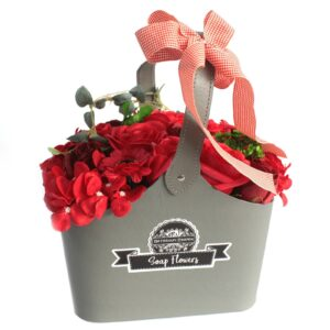 Basket Soap Flower Bouquet Red Soap Flower Bouquets