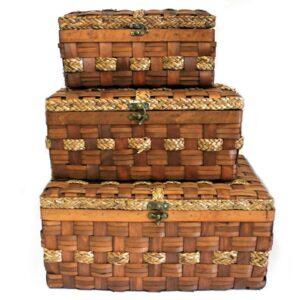 Big Set of 3 Display Chests Wood Grass 46x32cm Village Baskets