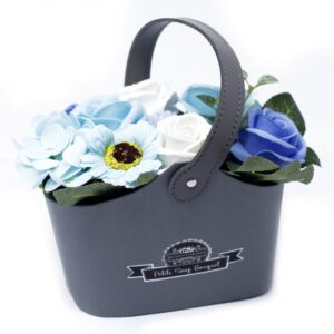 Bouquet Petite Basket Soothing Blues Petite Soap Flower Bouquets