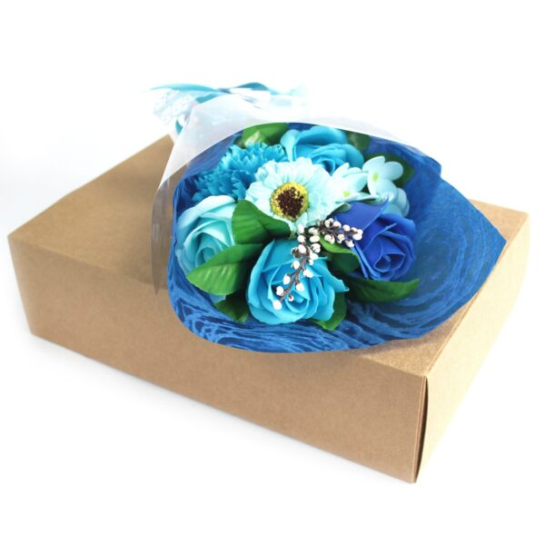 Boxed Hand Soap Flower Bouquet Blue Bathtime