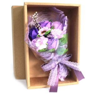 Boxed Hand Soap Flower Bouquet Purple Soap Flower Bouquets