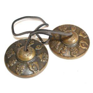 Brass Med. Tingsha Mazira 8 Lucky Signs Tibetan Singing Bowls
