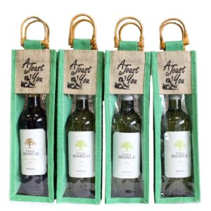 Cane Handle and PVC panel Green A Toast Natural Jute and Cotton Wine Bags