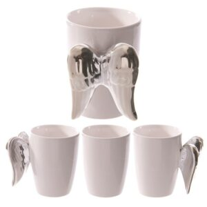 Ceramic White Angel Mug with Silver Wings Handle Mugs as Gifts