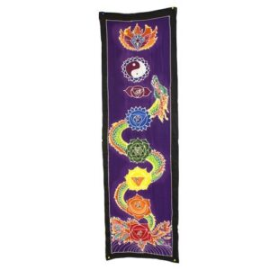 Chakra Drop Banner Dragon 175x53cm Bali Wax Batik Wall Hangings