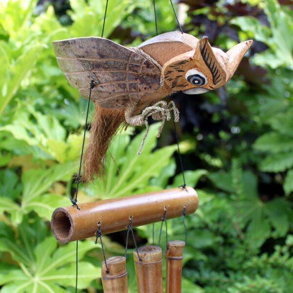 Coconut Owl Windchimes Wild Wild Bamboo Wind Chimes