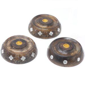 Cone and Stick Burner Asst Design Mango Wood Incense Holders