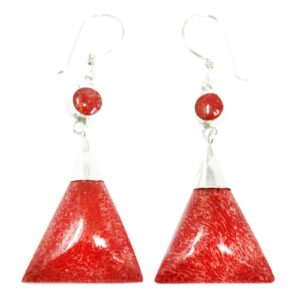 """Coral Style Silver Earrings Triangle Double Drop 925 Silver """"Coral"""" Earrings"""