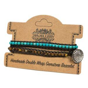 Double Wrap Bracelet 5050 Turquoise and Tiger Eye Gemstones Double Wrap Bracelets