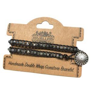 Double Wrap Bracelet Grey Stone and Mini Globes Gemstones Double Wrap Bracelets