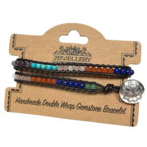 Double Wrap Bracelet Multi Stone Chakra Gemstones Double Wrap Bracelets