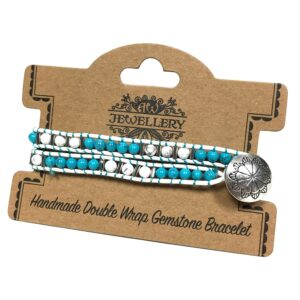 Double Wrap Bracelet Turquoise and White Agate Gemstones Double Wrap Bracelets