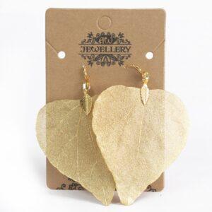 Earrings Heart Leaf Gold Leaf Jewellery