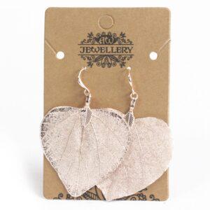 Earrings Heart Leaf Pink Gold Leaf Jewellery