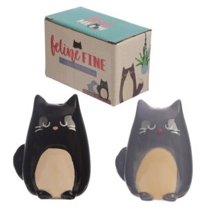 Feline Fine Black and Grey Cat Salt and Pepper Set While Stocks Last