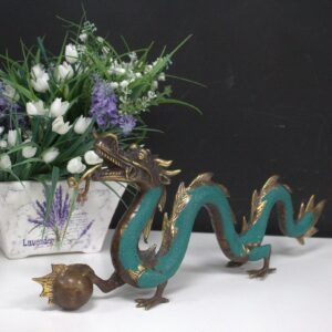 Fengshui Med Dragon with Ball 27cm Brass Fengshui Objects