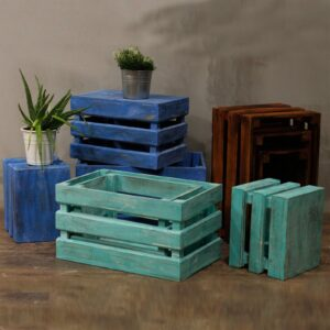 Fruit Box set of 3 Blue wash Retail Display Stands