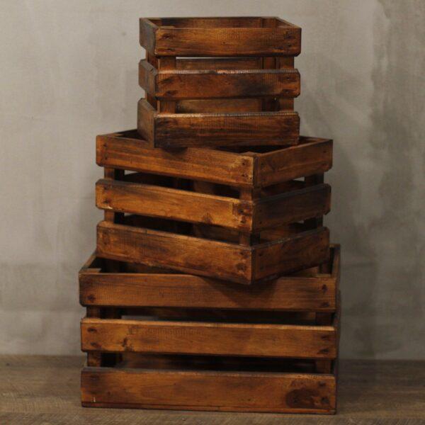 Fruit Box set of 3 Brown Retail Display Stands