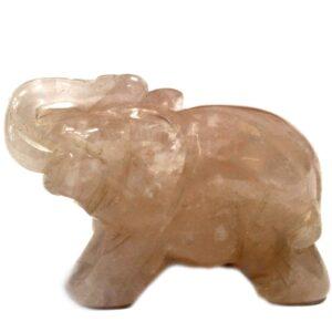 Gemstone Elephant Rose Quartz Gemstone Figures