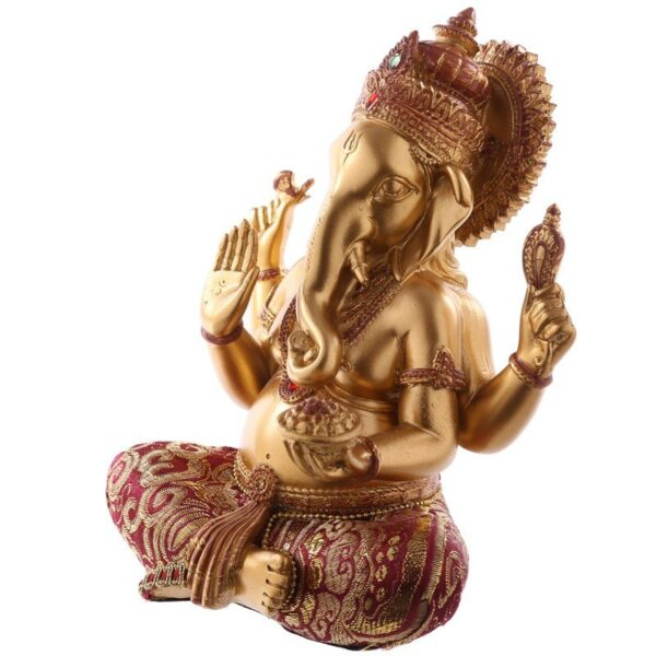 Gold and Red Ganesh Figurine Home Décor