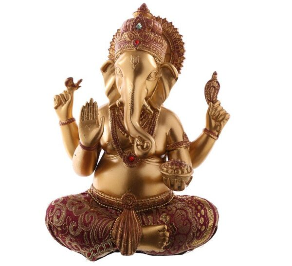 Gold and Red Ganesh Figurine Thai Buddha Figures
