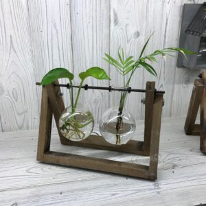 Hydroponic Home Decor Two Pot Wooden Stand Hydroponic Home Décor Pots
