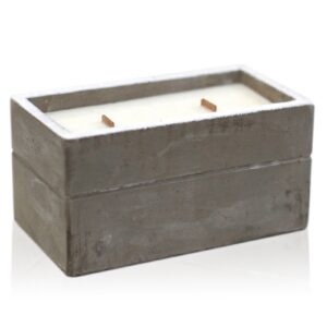 Large Box Clove and Dark Sandalwood Concrete Wooden Wick Candle