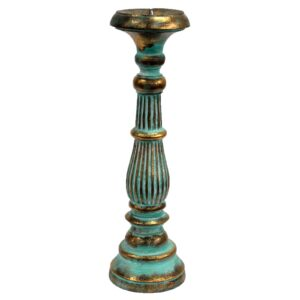 Large Candle Stand Turquois Gold Vintage Candle Stands