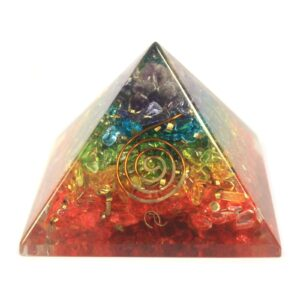 Lrg Orgonite Pyramid 70mm Chakra Gem chips Orgonite