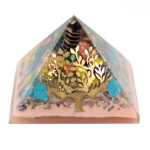 Lrg Orgonite Pyramid 70mm Tree(earth base Orgonite