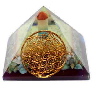 Lrg Orgonite Pyramid 80mm Flower of life symbol Orgonite