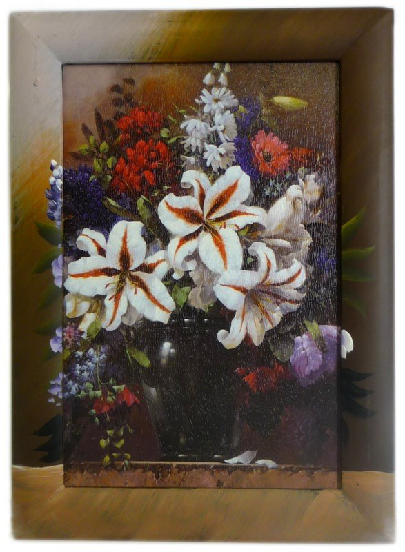Lrg Painted Frame Art Pot of Lilies While Stocks Last