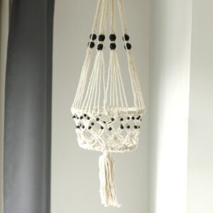 Macrame Pot Holder Lrg Single Beaded Macrame Pot Holder