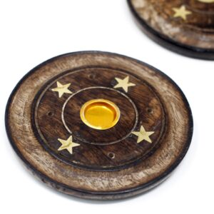 Mango Wood Disc 10cm  Cone and Incense Incense Holders
