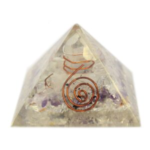 Med Orgonite Pyramid 55mm Gem chips and Copper Orgonite