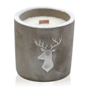 Med Pot Stag Head Whiskey and Woodsmoke Concrete Wooden Wick Candle