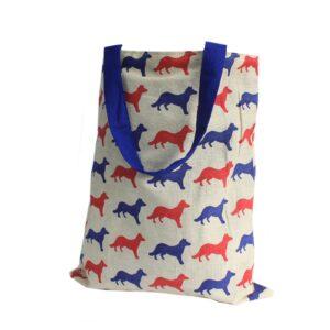 Med Tote Bag Reversible Fox Blue Block Print Hipster Tote Bags