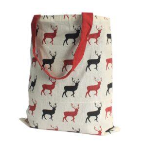 Med Tote Bag Reversible Stag Wine Block Print Hipster Tote Bags