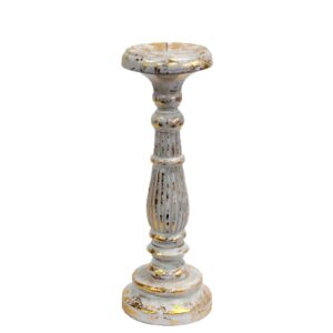 Medium Candle Stand White Gold Vintage Candle Stands